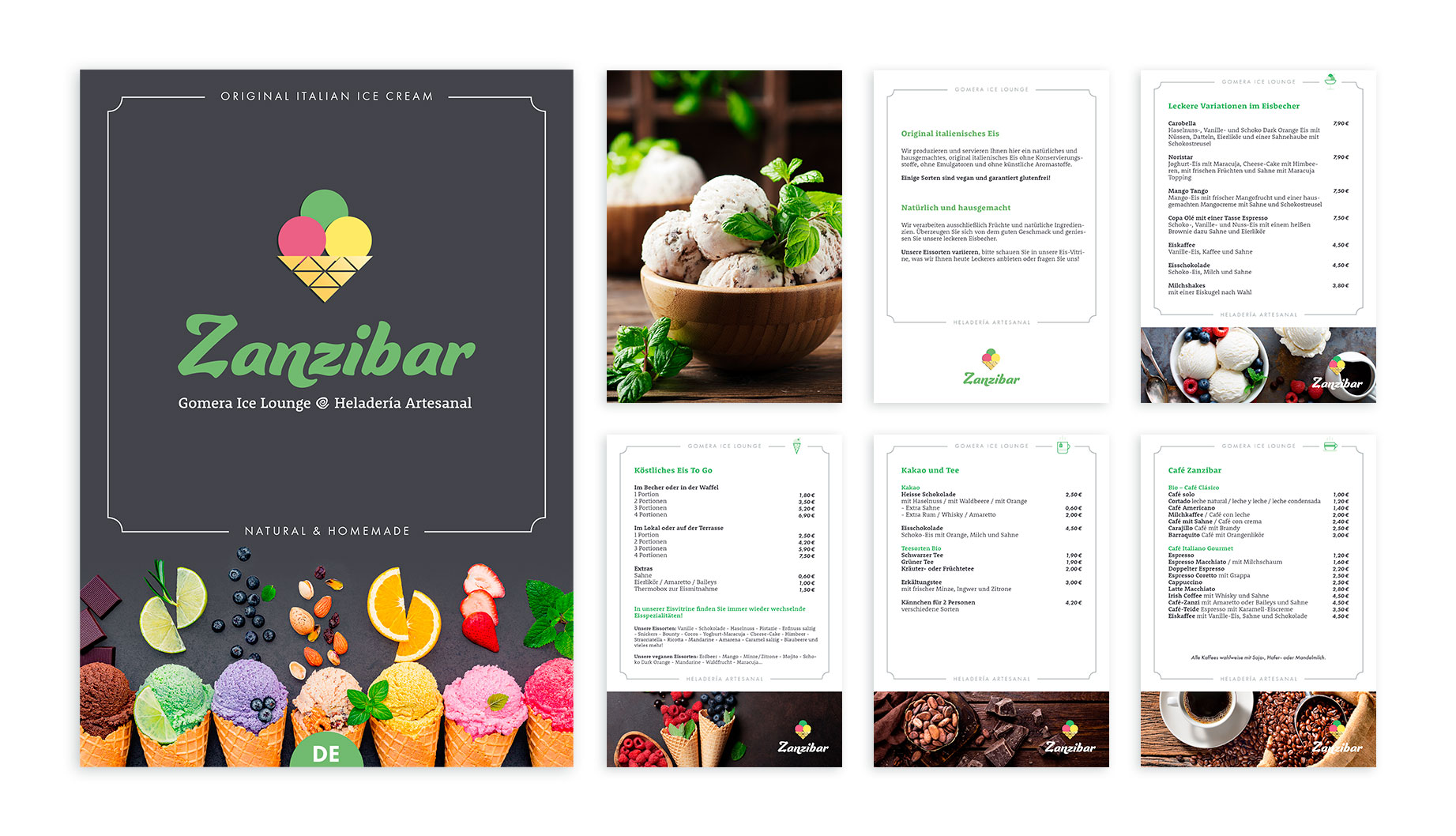 Zanzibar - Art Director - Corporate Identity - Corporate Text and Design - Brand Concept - Menu Design - Icon Design - Final Art